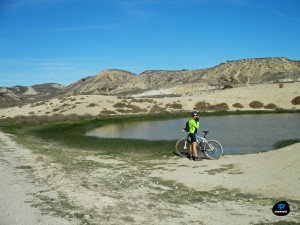 Balsa natural de agua en el desierto de Monegros